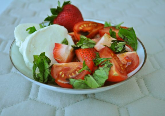 Mozarella, Tomato and Strawberry Salad